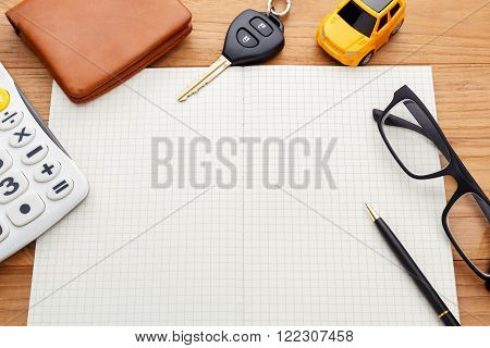 Blank Notebook With Car Key Pocket Money