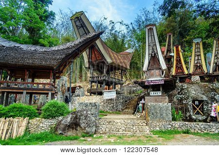 Tana Toraja, Indonesia - Dec 9, 2015: Ceremony site with megaliths. Bori Kalimbuang or Bori Parinding. It is a combination of ceremonial grounds and burials. Tana Toraja. South Sulawesi Indonesia
