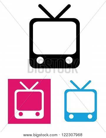 Retro vector television icon in black, colour and reverse