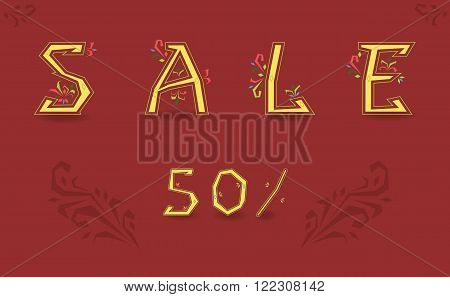 Inscription Sale. Delicate letters with floral pattern. Vector Illustration