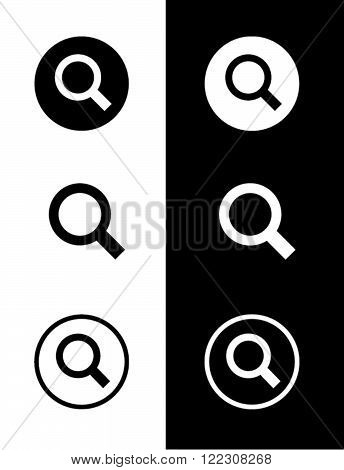 Vector Magnifying Glass Set in Black and Reverse