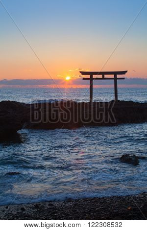 Sunrise and sea at Japanese shinto gate in Oarai city Ibaraki prefecture