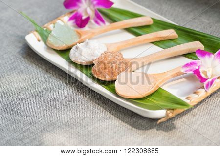 Aromatherapy spa herbs elements and ingredients with decorations.