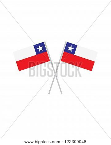 An illustration of two crossed chile flags