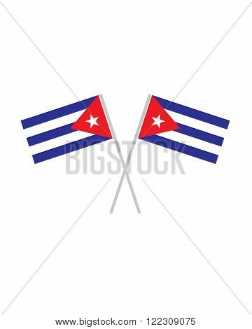 An illustration of two vector crossed cuban flags