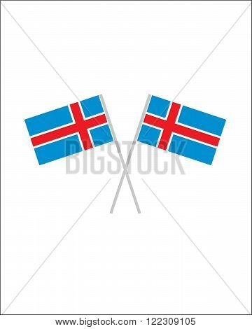 An illustration of crossed vector Iceland flags