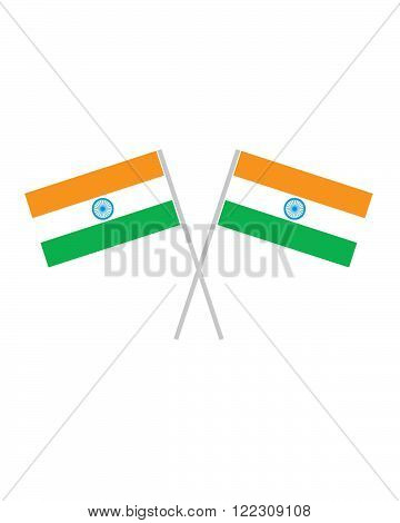 An illustration of two crossed indian flags