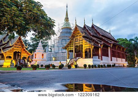 Wat Phra Singh ( Phra Singh temple) in evening time - Chiang mai Thailand