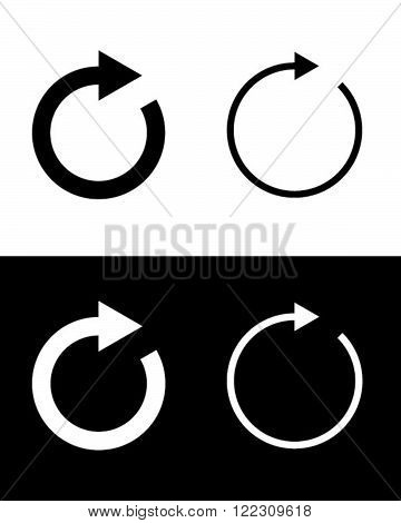 Vector refresh icon set in black and reverse