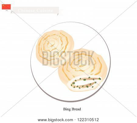 Chinese Cuisine, Illustration of Bing or Chinese Crispy Flat Bread Filled with Scallion or Ground Meat. One of Most Popular Dumplings in China.