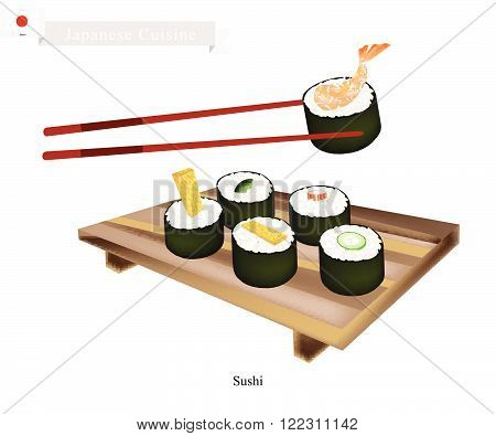 Japanese Cuisine, Illustration of Ebi Tempura, Tamagoyaki, Surimi, Cucumber and Avocado Sushi Roll. One of The Most Popular Dish in Japan.