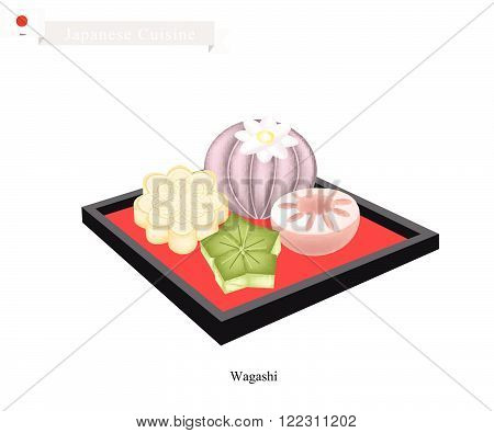 Japanese Cuisine, Wagashi or Japanese Traditional Confectionery Often Served with Tea. One of The Most Popular Dessert in Japan.