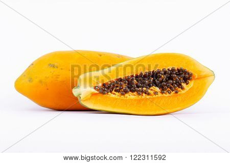 Ripe papaya is healthy fruit. It is rich in vitamins and helps in the excretion.