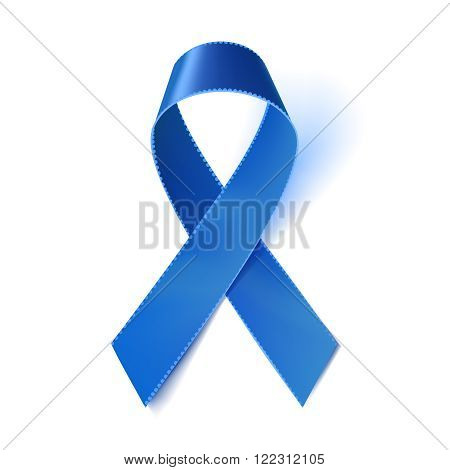 Realistic blue ribbon prostate cancer awareness symbol isolated on white. Vector illustration eps10.