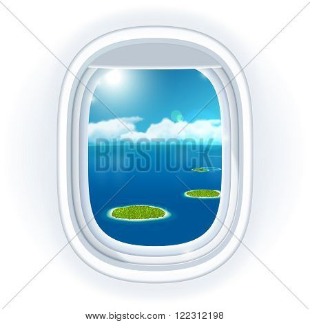 Realistic aircraft porthole window with blue sea or ocean in it and small tropical islands view through travelling over the sea.