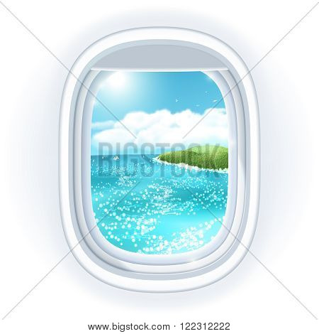Realistic aircraft porthole window with bright sea or ocean in it and tropical island view through travelling over the sea.