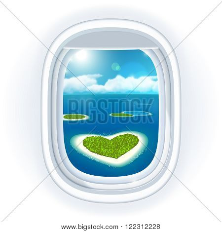 Realistic aircraft porthole with blue sea or ocean in it and small tropical islands one island is heart-shaped view through travelling over the sea.