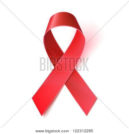 Realistic red ribbon aids awareness symbol isolated on white. 1st December World Aids Day. Vector illustration eps10.
