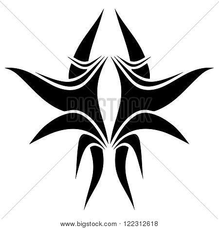 Creative tribal tattoo disign. Line vector illustration