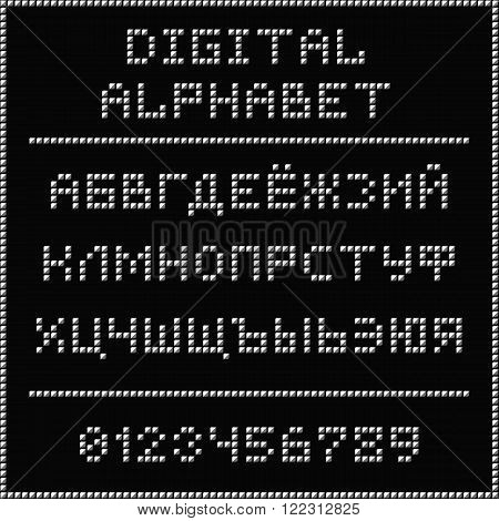 Digital alphabet. Font of the white dots - cyrillic capital letters. Vector illustration 10 EPS