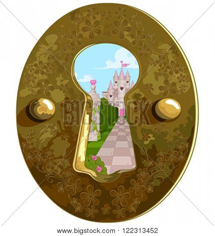 Illustration of Wonderland true the key hole