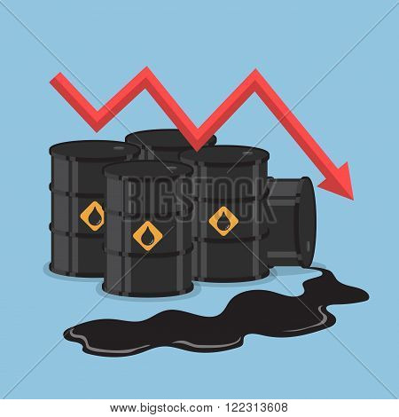 Oil Barrels And Downtrend Graph