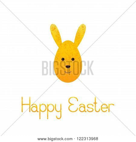 Greeting card with shabby golden egg rabbit and lettering Happy Easter isolated on white background