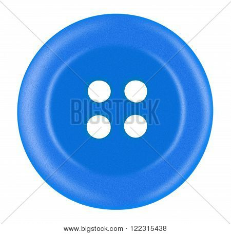 Light blue Plastic button isolated on white with Clipping Path