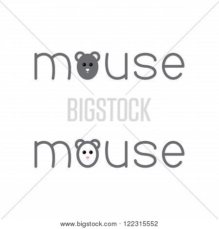 Set of mouse lettering with lettering o in the shape of mouse`s head isolated on white background. Logo template. Design element