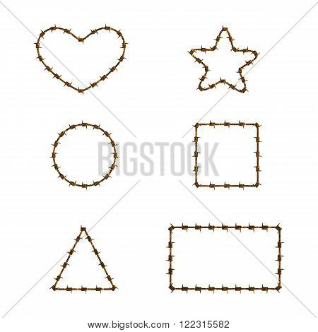 Set of rusty barbed wire shapes. Logo template design element. Concept of insoluble problem depression crisis armed conflict