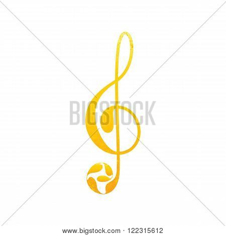 Beautiful shabby golden colored treble clef with floral elements isolated on white background. Greeting card / invitation template. Design element