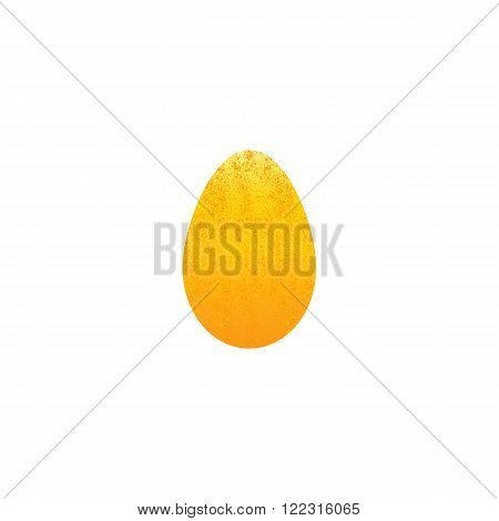 Greeting card with shabby golden egg isolated on white background. . Logo template design element