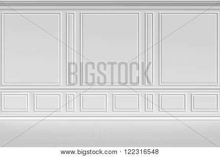 Simple classic style non-color white interior illustration - white wall in classic style empty white room interior colorless 3d illustration.