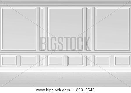 Simple classic style non-color white interior illustration - white wall in classic style empty white room interior colorless 3d illustration.