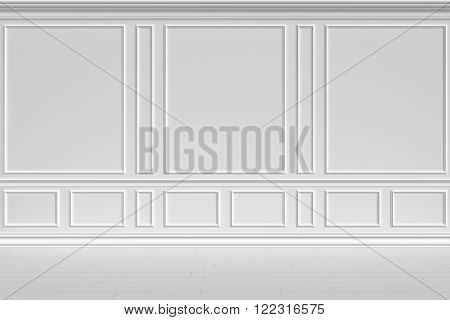 Simple classic style non-color white interior illustration - white wall of classic style empty white room interior, colorless 3d illustration.