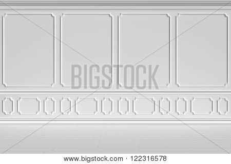 Simple classic style non-color white interior illustration - white wall of classic style empty white room interior colorless 3d illustration