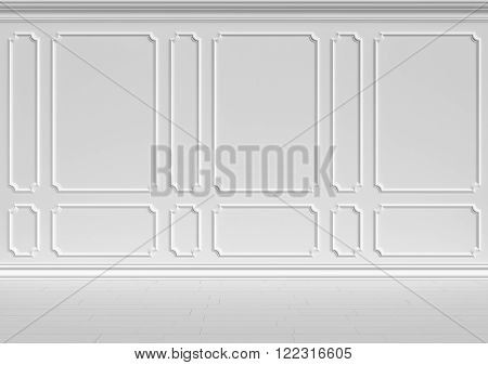 Simple classic style non-color white interior illustration - white wall of classic style white empty room interior colorless 3d illustration.