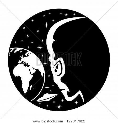 Aliens and Earth sign on a white background.