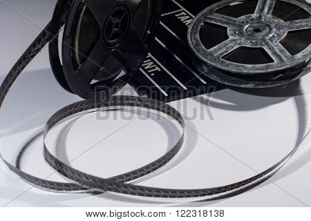 Old Reel Of Film And Cinema Clap
