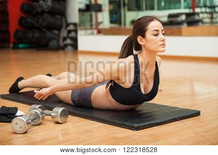 Portrait of a young woman focusing on her workout and doing some reverse back curl crunches at a gym