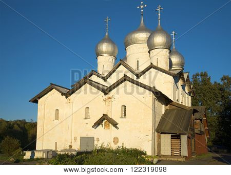 The Church of Boris and Gleb in the Carpenters in the rays of the setting sun. Veliky Novgorod, Russia