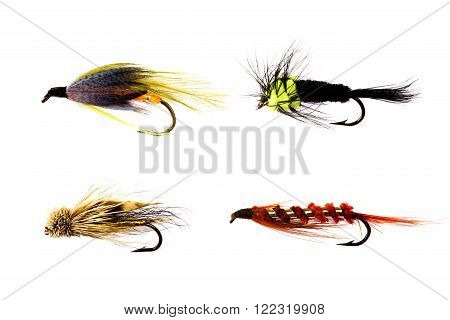 Lake and reservoir trout fishing lures on a white background