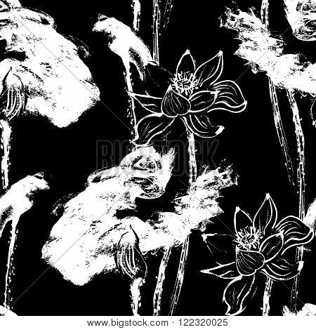 Watercolor lotus seamless Pattern. Black background. Stock Vector Illustration