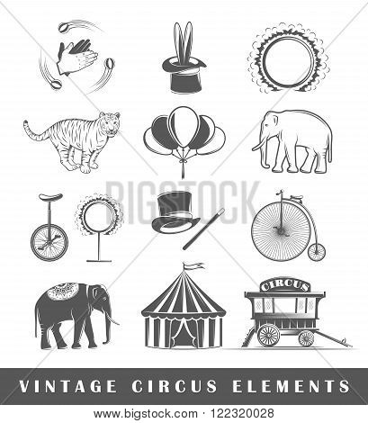 Set of elements of the circus. Elements of circus isolated on white. Symbols for circus design vector. Silhouettes of the circus. Vector illustration