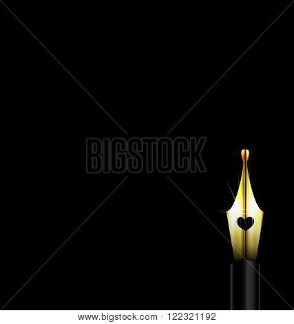 dark background and  large golden writing pen