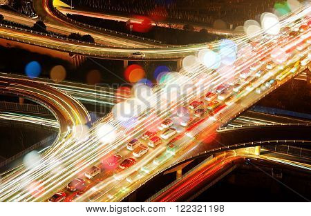 Aerial view of the viaduct Night countless automobile congestion.