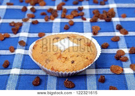 Homemade muffins with raisins and nuts on blue placemats desert
