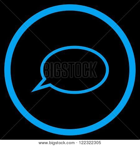 Hint Cloud vector icon. Image style is a flat icon symbol inside a circle, blue color, black background.