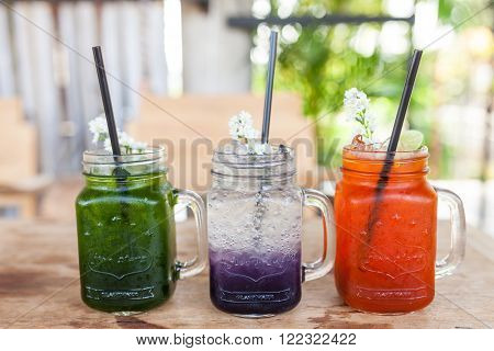 Set Of Three Summer Lemonade And Fruit And Mint Leaf With Soda