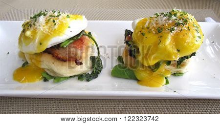 Poached Eggs and Bacon on a Brioche